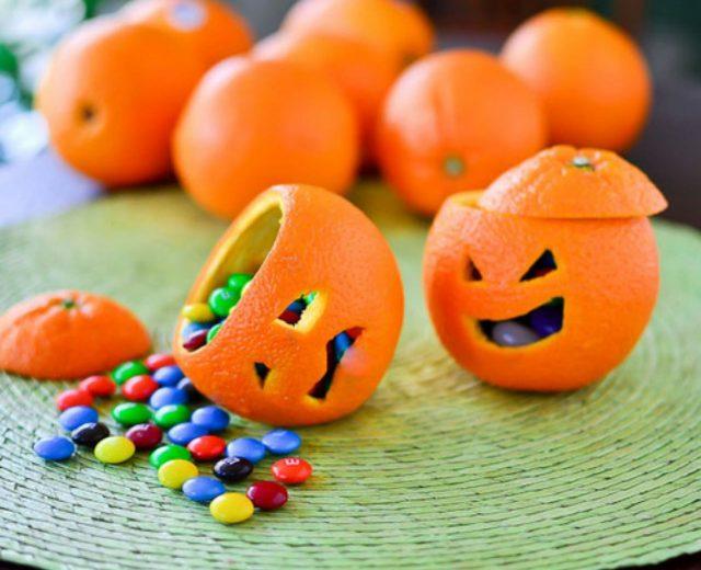 Laranjas de Halloween recheadas com chocolate